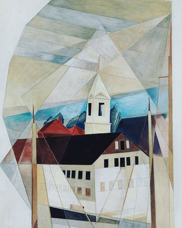 """A leading proponent of Precisionism, Charles Demuth (1883-1935) created a signature style using sharply delineated geometrical forms. """"Box of Tricks"""" (1919), painted while summering in Gloucester, MA, shows a favorite theme - the modernization of the American landscape. Demuth produced over 1000 works in what would be an abbreviated career. He developed diabetes as an adult, and though one of the first in the U.S. to receive insulin, he died at just 51. The Dial, January 1920. #scofieldthayer #thedialmagazine #artoftheday #charlesdemuth #precisionism #gloucesterma #landscapelovers #arthistory #demuthmuseum #moma #pafa #diabetes #watercolor #seascape"""