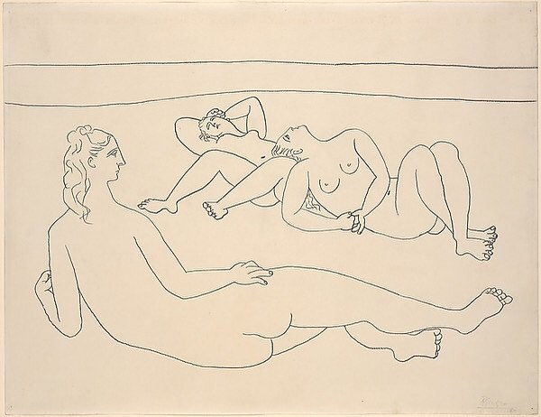 """Pablo Picasso (1881-1973) was the most prolific of all professional artists according to the Guinness Book of World Records. During his 75-year career, he produced over 13,500 paintings and designs, 100,000 prints and engravings, 34,000 book illustrations, and 300 sculptures and ceramics. His oeuvre has been valued at ~ $800 million. He was the master of many media, even the pencil, as seen in """"Three Bathers Reclining by the Shore"""" (1920) - The Dial, June 1924.  #scofieldthayer  #thedialmagazine #picasso #pencildrawing #guinnessworldrecord #nudesinart  #metmuseum #metdrawingsandprints #artoftheday #arthistory"""