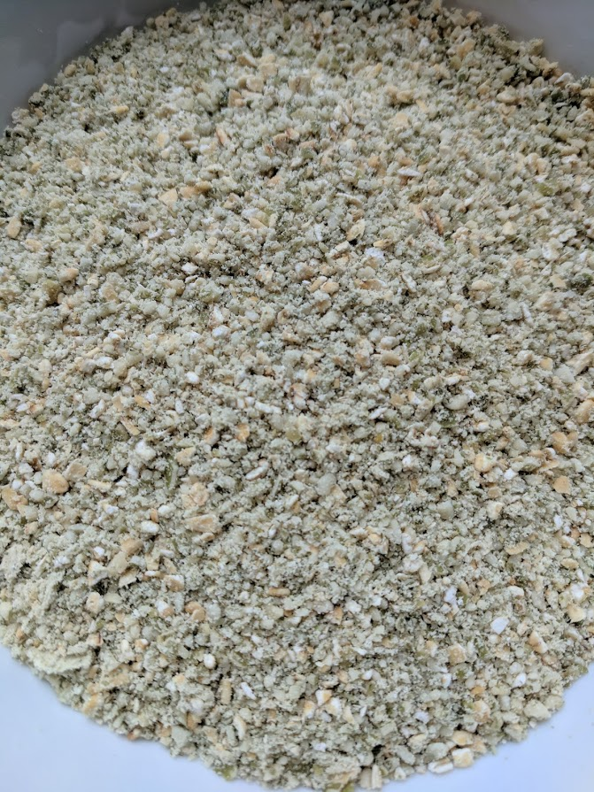 This is what the oats and pumpkin seeds look like when they have been ground up in the food processor. I usually use rolled oats, but today I just had steel cut, so I made due. #makin'itwork