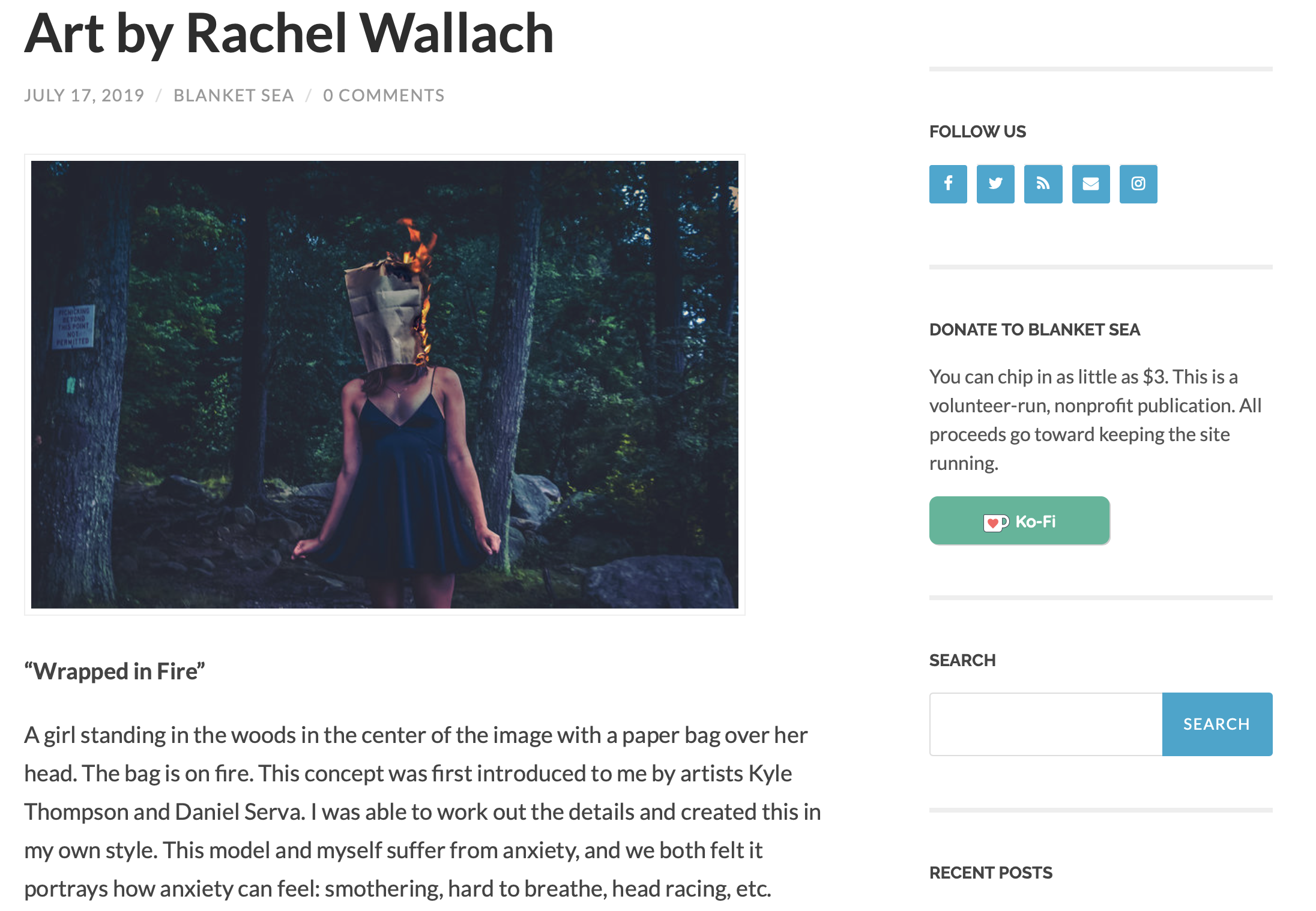 Artwork Featured in Blanket Sea Magazine - Article about Rachel's artwork in Blanket Sea Magazine, July 2019Blanket Sea Magazine is an arts & literary magazine dedicated to showcasing the work of artists and writers living with chronic illness, mental illness, and disability.
