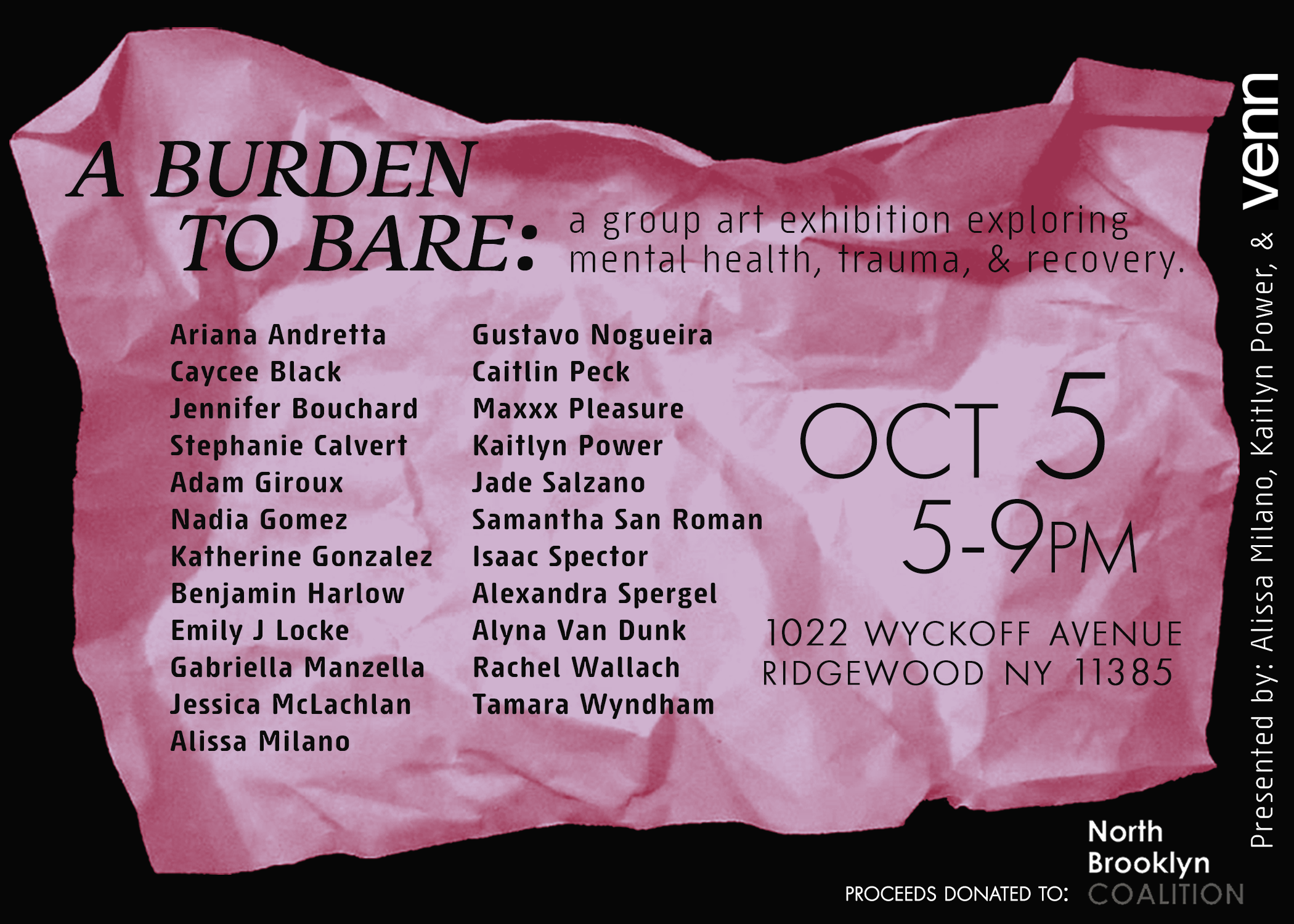 A Burden To Bare - 2 photographs by Rachel featured in the pop up art exhibition in New York. Proceeds from the show donated to North Brooklyn Coalition Against Family Violence. The North Brooklyn Coalition seeks to address the systemic racism, institutional injustice and cultural barriers survivors of domestic violence and sexual assault face by creating a community-based support network, providing supportive services and engaging the community through outreach, education, advocacy and activism.