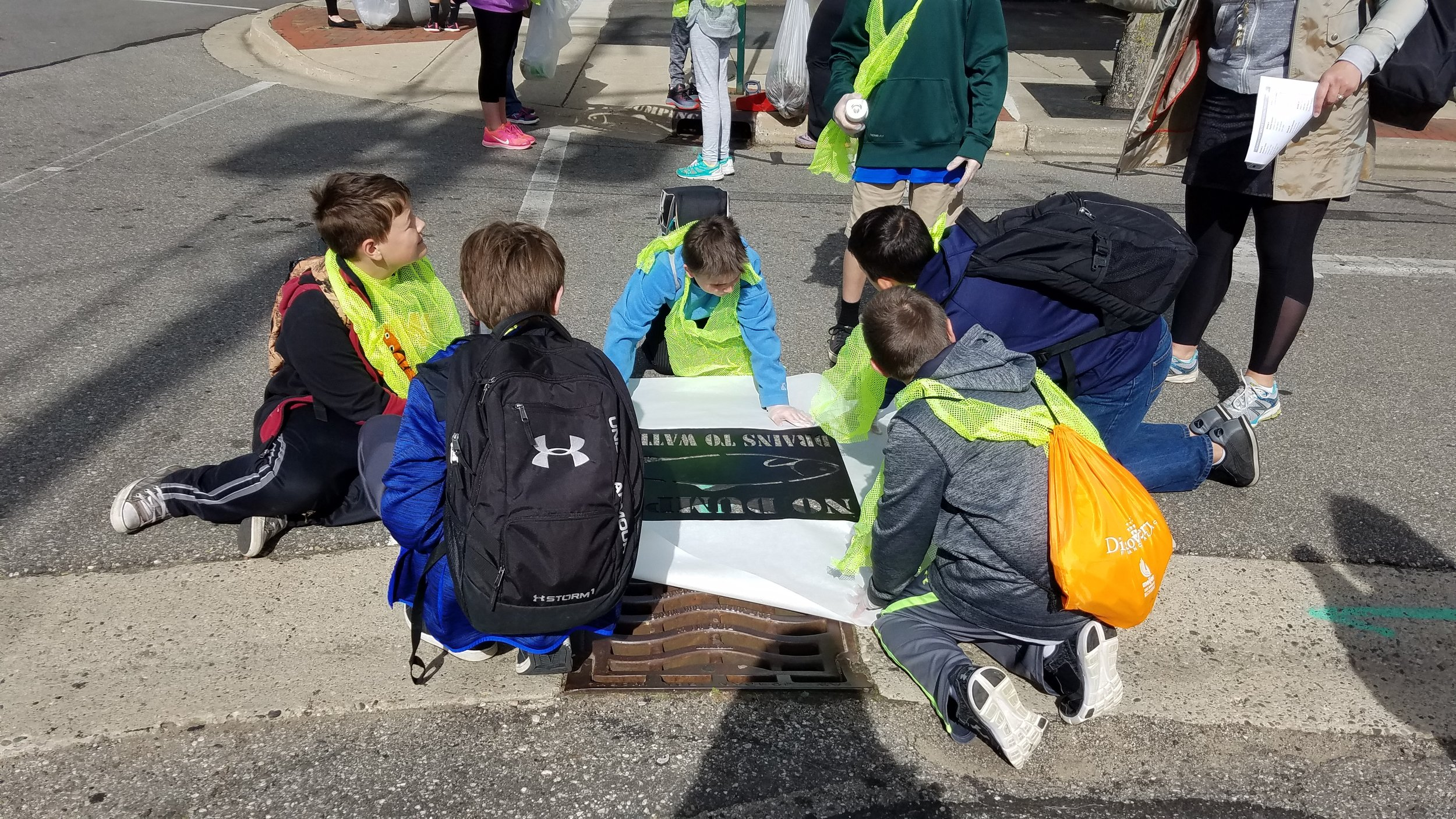 East Rockford Middle School Students Marking Storm Drains