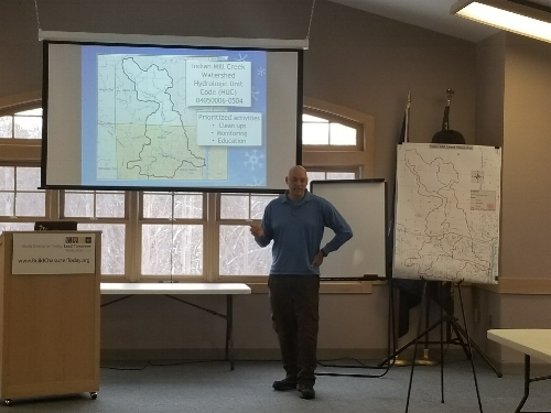 Michigan Department of Environmental Quality biologist Aaron Parker gives an update on water quality monitoring and investigations of dumping reports in Indian Mill Creek