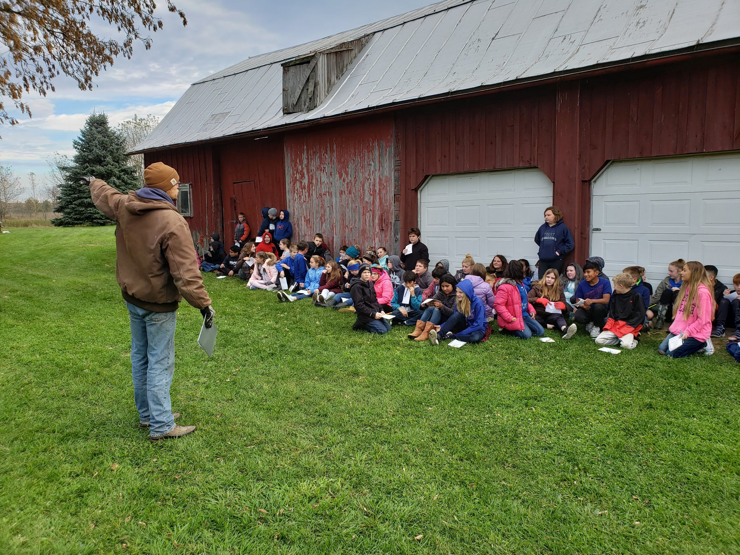Farm Manager Mike Edwardson welcomes students to the farm