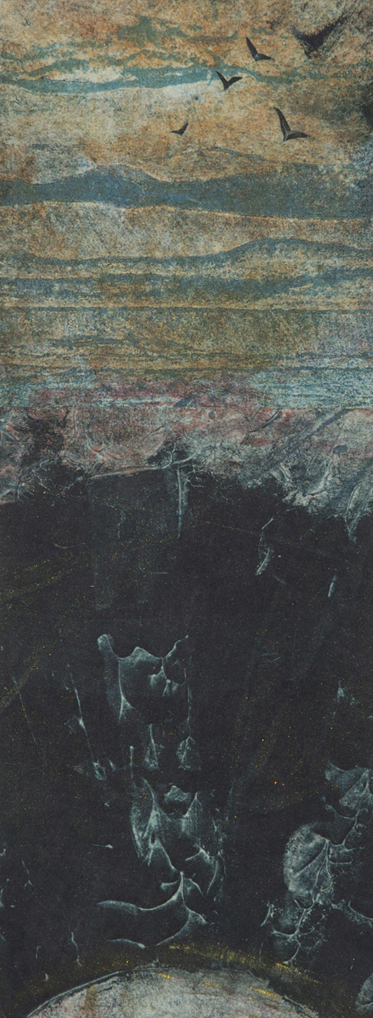 Eventide, monprint, collage, 2014