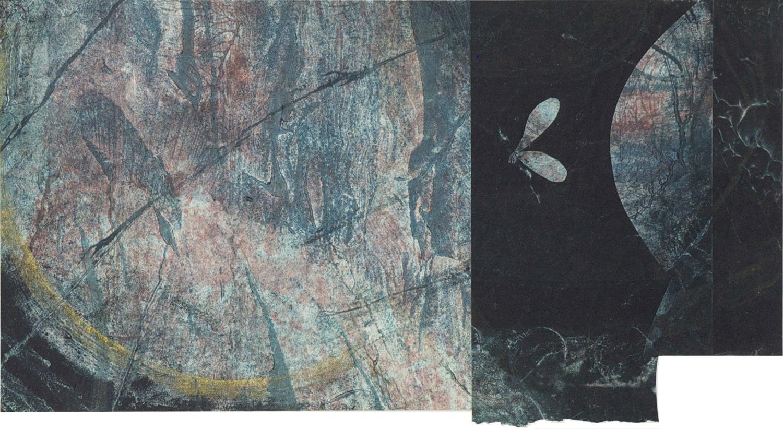 Bereft, collagraph monprint, collage, 2014