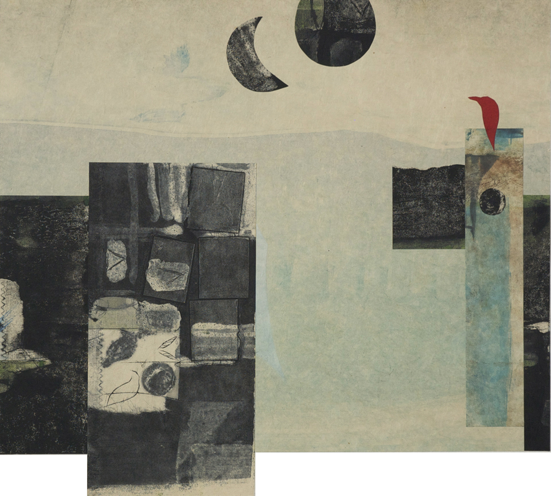 Black Moon, Black Sun, collagraph, collage, 2014