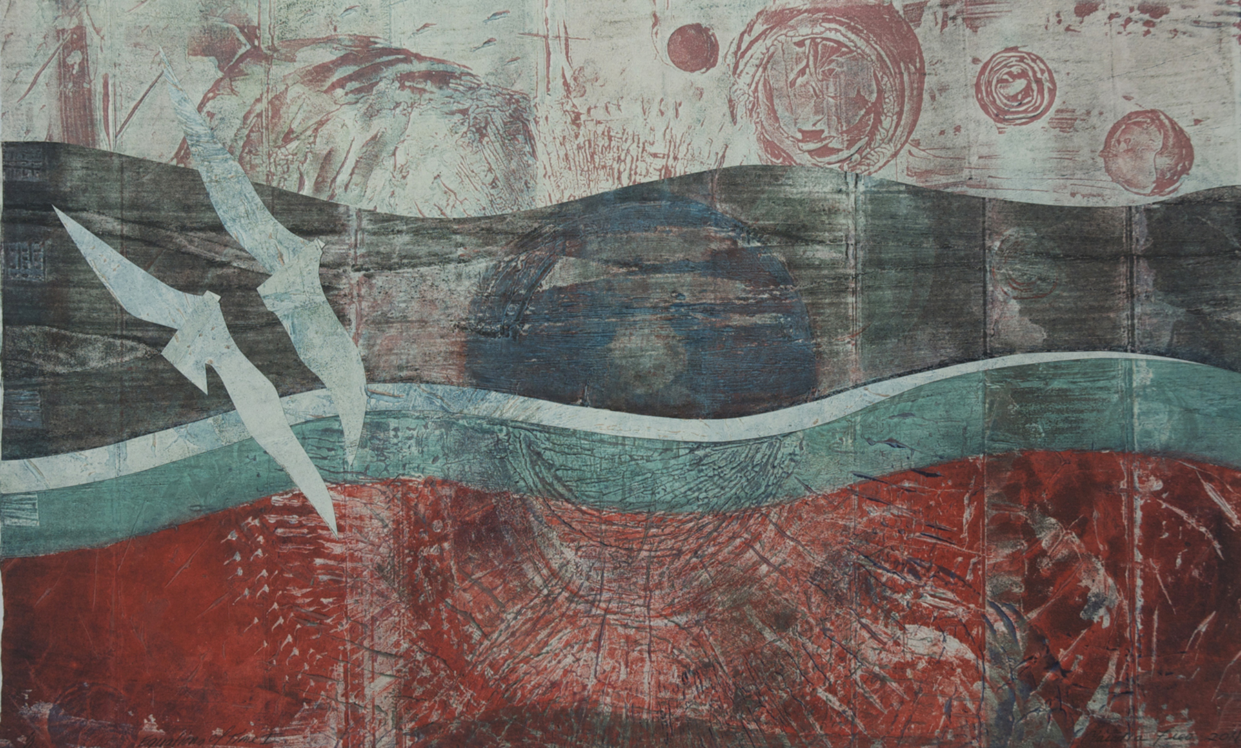 Equations of Time I, collagraph monoprint, collage, 2012