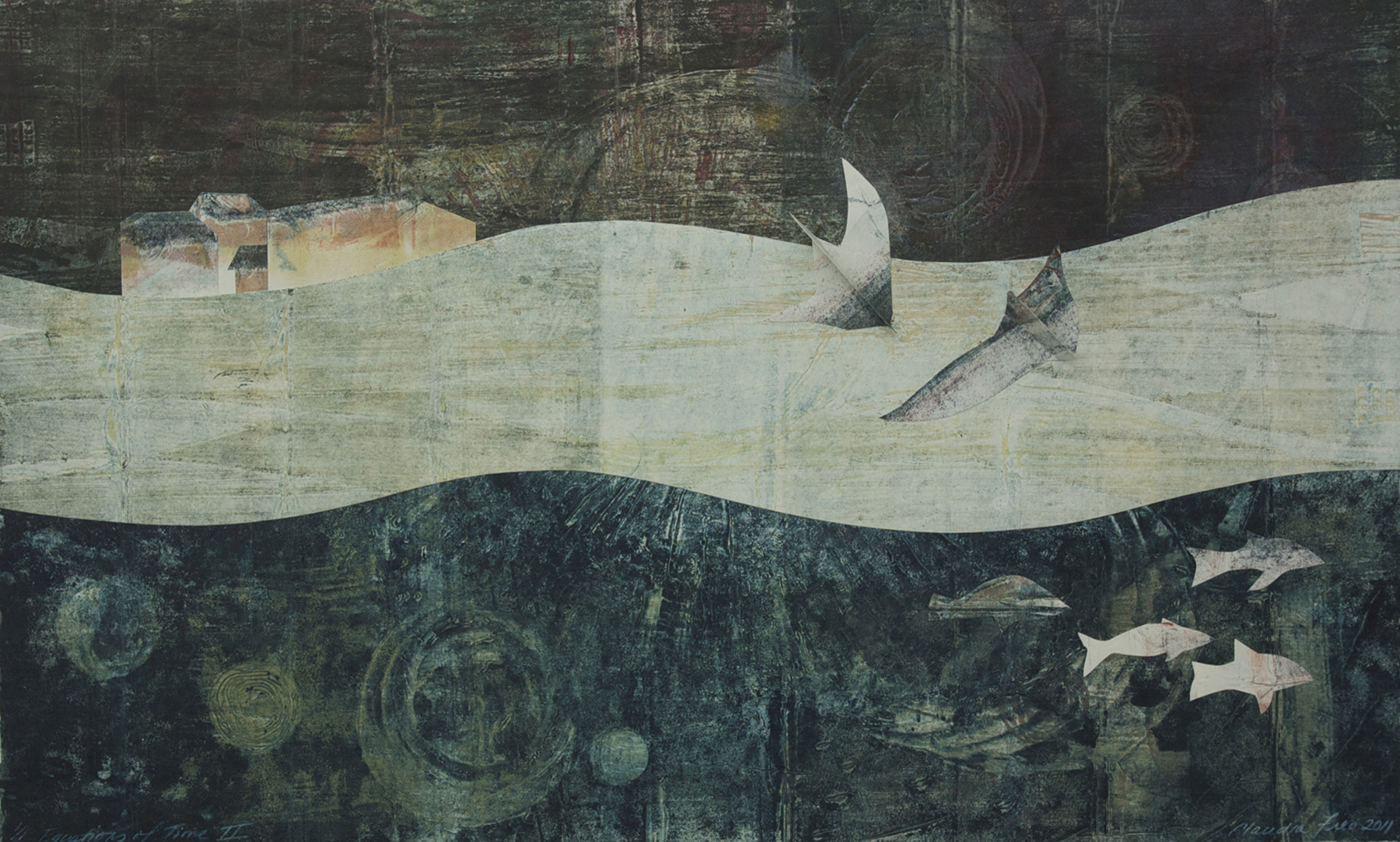 Equations of Time II, collagraph monoprint, collage, 2012