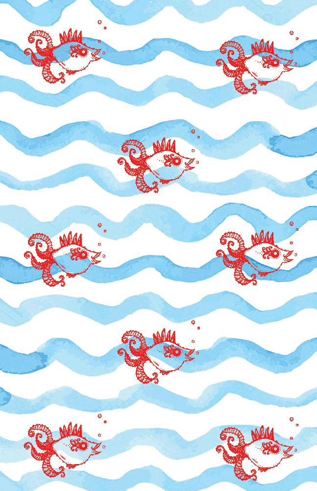 Red baby Fish on blue wave pattern 2.jpg
