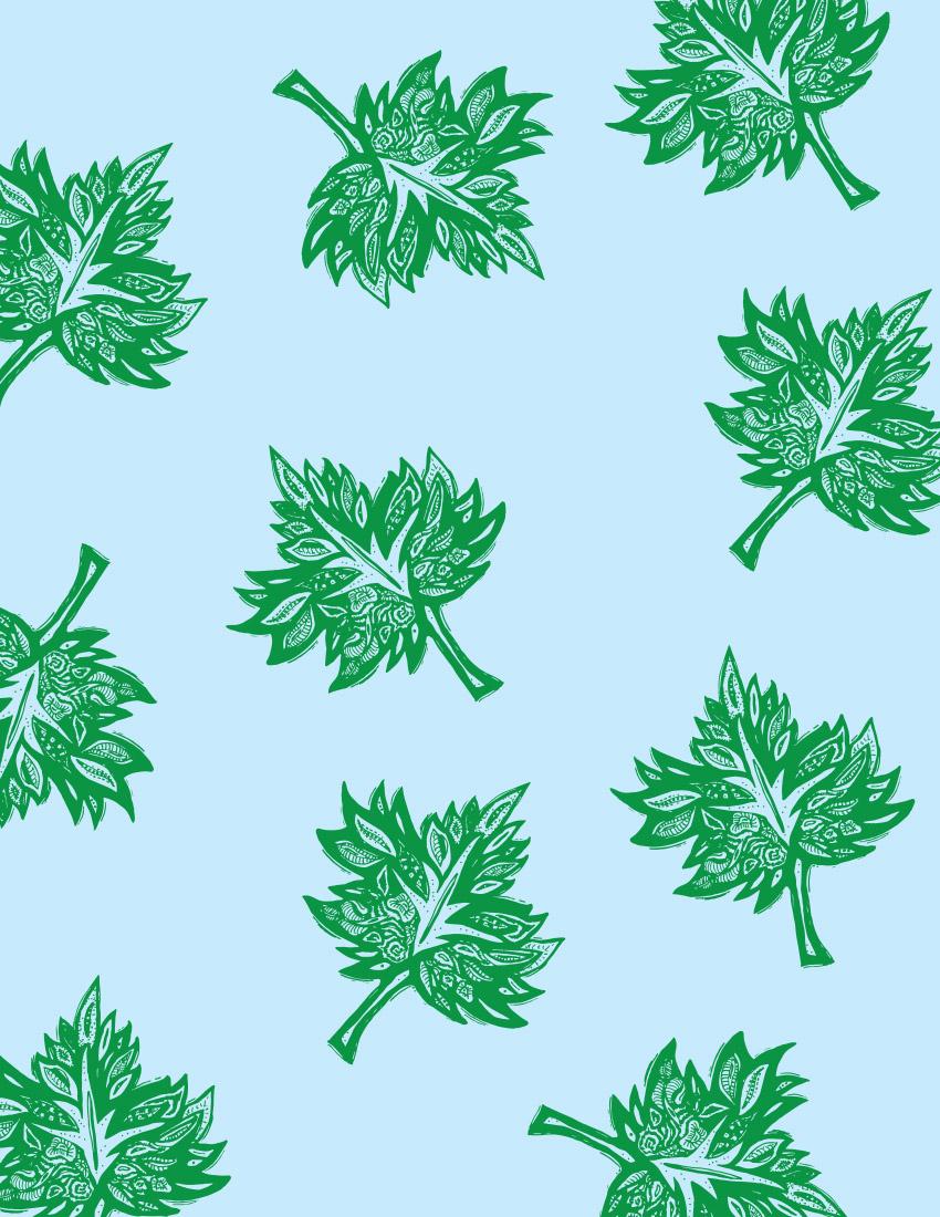 Large Green leaf -blue BG bedding web.jpg