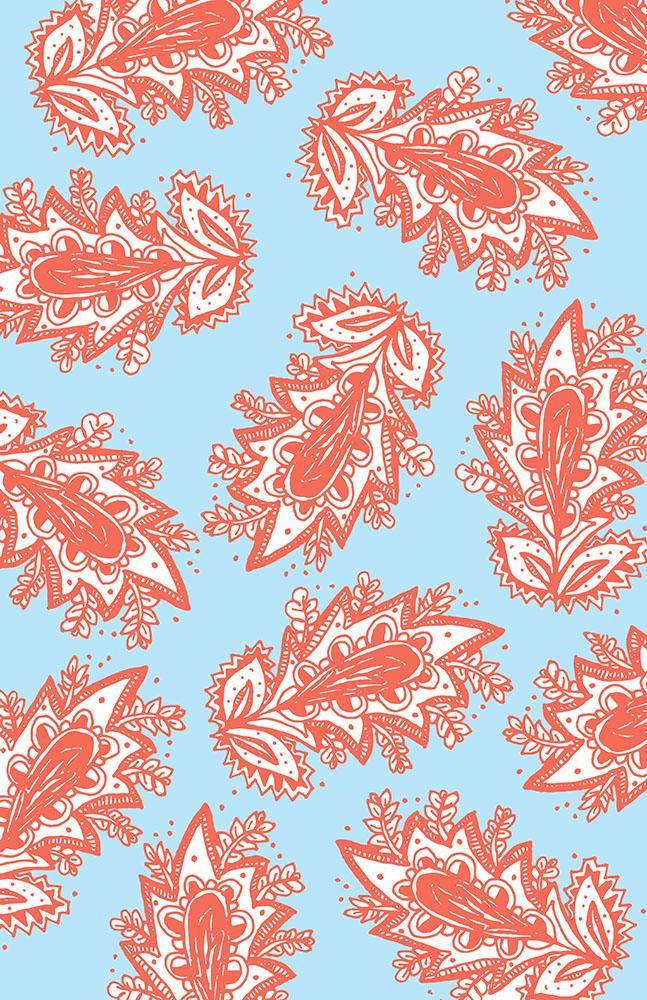 Paisley flower pattern- Shrimp - blue web.jpg