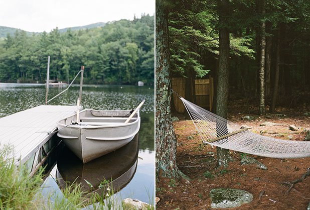 A canoe floating in a lake and a hammock blowing in the wind, in New Hampshire.