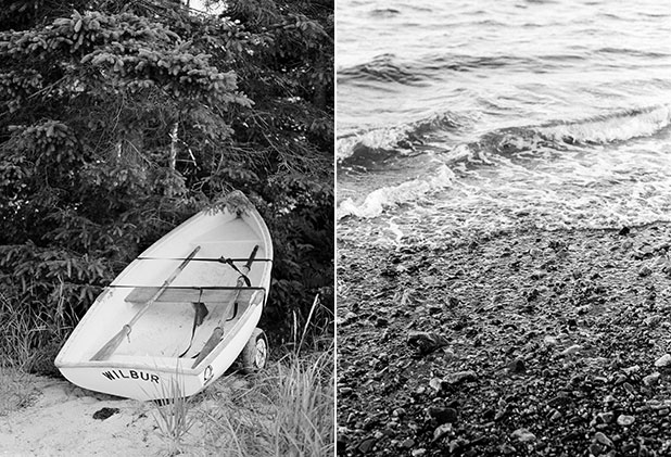 A canoe docked on the beach and pebbles from a coastal new england beach, both shot on black and white film.