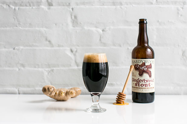 Product photography by Richmond photographer Sarah Der of Hardwood Park Craft Brewery's Gingerbread Stout.