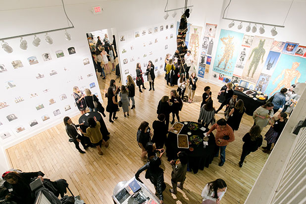 candella gallery hosting welcome party, guests with drinks and snacks