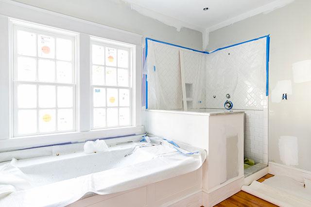 in progress photo of master bath