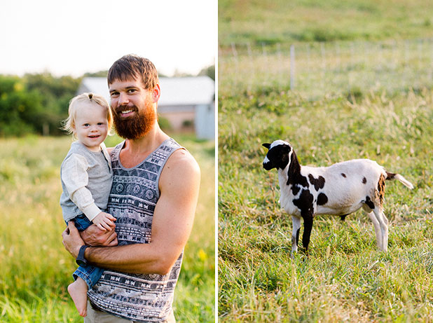 photo of farmer with son and lamb - Sarah Der