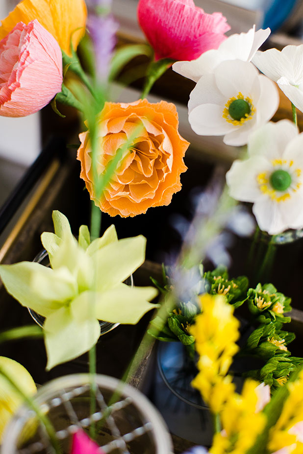 crepe paper flowers, handmade - Sarah Der