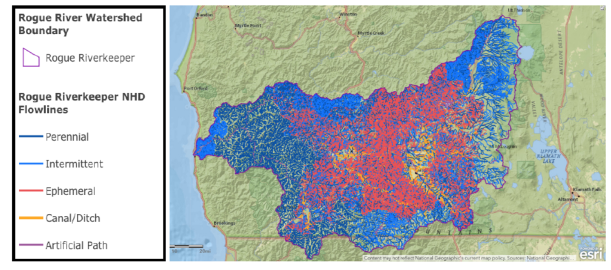 This map of the Rogue watersheds highlights the importance of ephemeral streams (in red), which flow largely in response to snow melt or rainfall, that would lose protections under the Dirty Water Rule.  |  Map created by Waterkeeper Alliance.