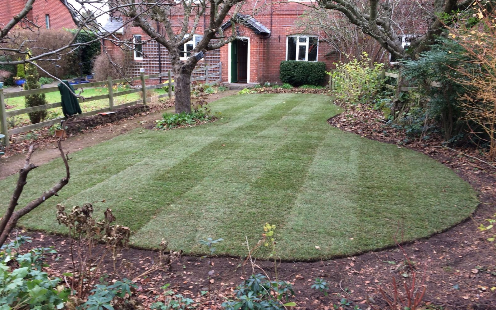 RTF turf installed with custom stripes in King's Somborne, Hampshire