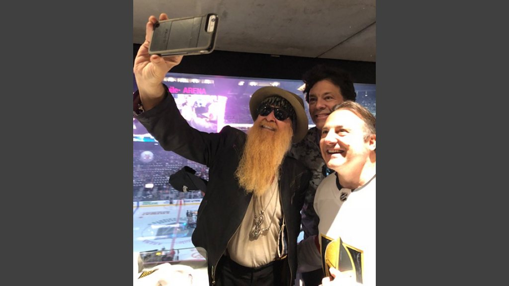 """Billy Gibbons shooting a selfie with Marklen Kennedy, producer of """"Gigolos,"""" and Gavin Maloof, a minority owner of the Vegas Golden Knights."""