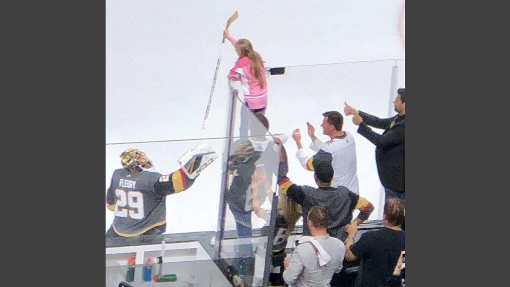 The only thing Vegas Golden Knights goaltender Marc-Andre Fleury gave up all night. A young girl got the hockey stick Fleury used to blank the San Jose Sharks, 7-0, in the opener of the playoffs' second round.