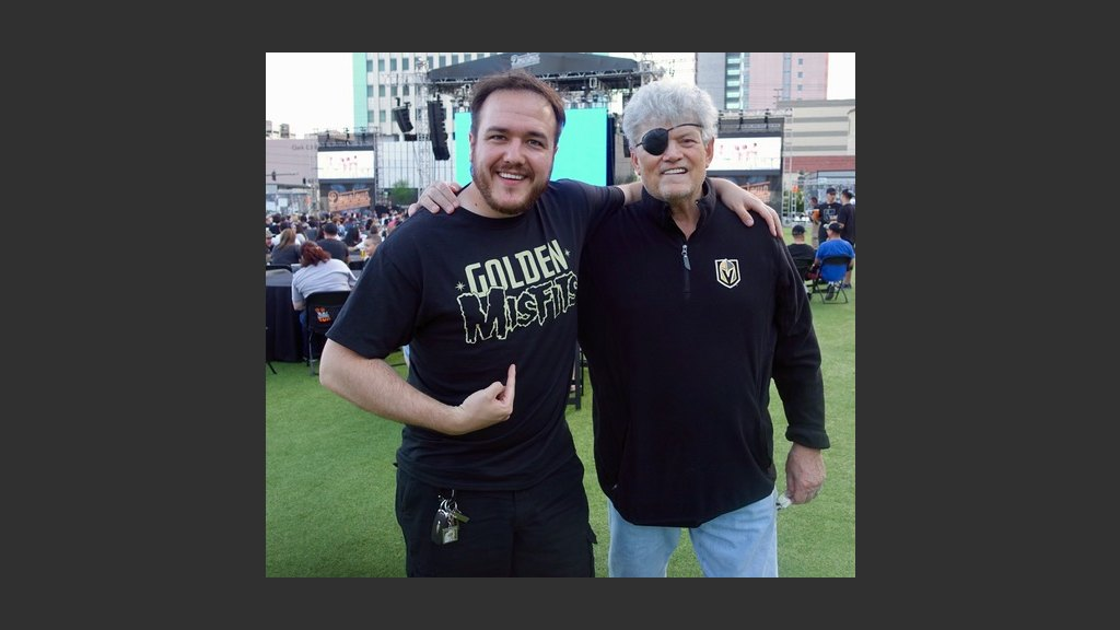 """WITH MY GOOD FRIEND, SHAWN TEMPESTA OF KTNV-TV, CHANNEL 13'S """"MORNING BLEND"""" AT THE GOLDEN KNIGHTS' VIEWING PARTY AT THE DOWNTOWN LAS VEGAS EVENTS CENTER ON MONDAY. PHOTO: Scooter the Beerguy"""