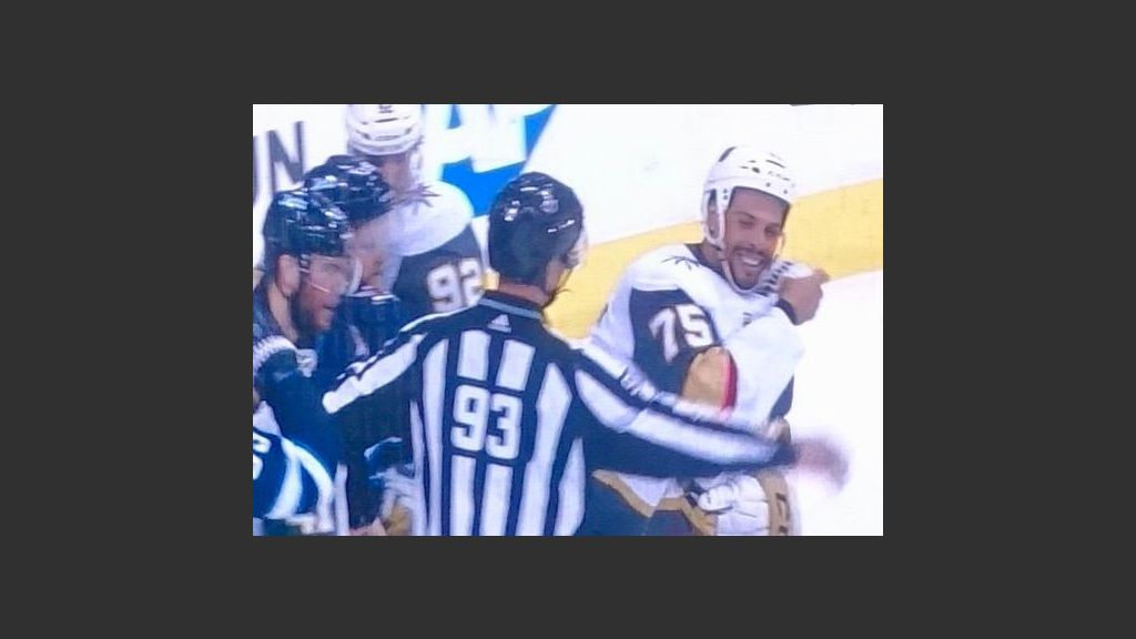 THE GOLDEN KNIGHTS' BRUISER, RYAN REAVES, CLEARLY RELISHED MIXING IT UP WITH THE WINNIPEG JETS ON MONDAY. Photo from NBC Screen Grab