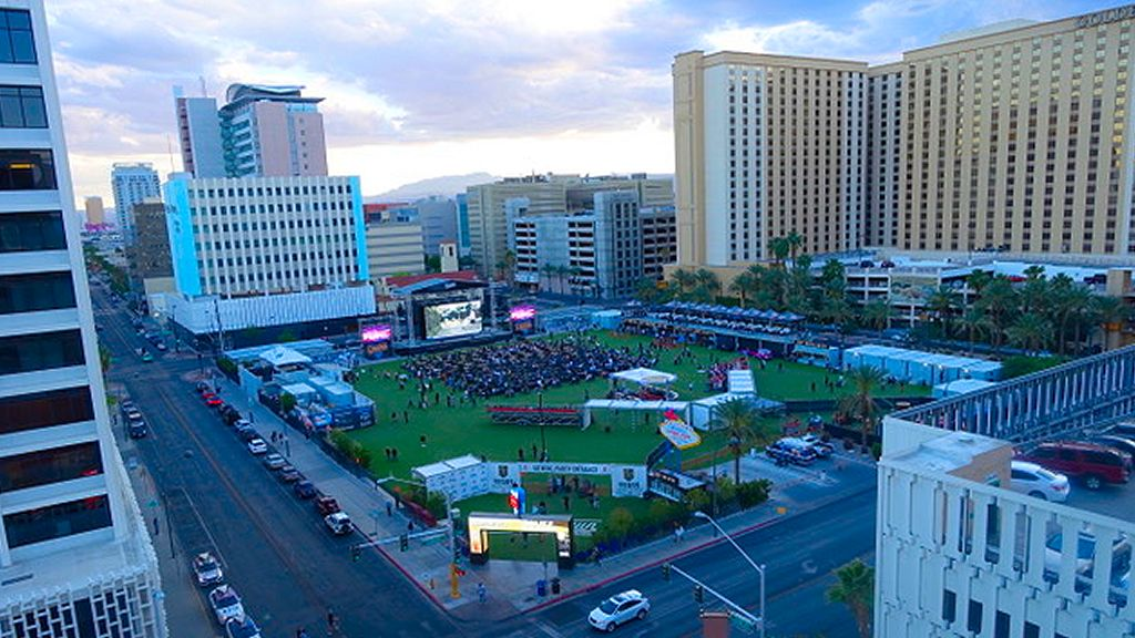 THE DOWNTOWN LAS VEGAS EVENTS CENTER ATTRACTED A CROWD OF ABOUT 1,500 ON MONDAY FOR GAME 2 OF THE WESTERN CONFERENCE FINALS OF THE STANLEY CUP PLAYOFF. MORE THAN 5,000 ATTENDED GAME 1 TELECAST. Photo Norm Clarke