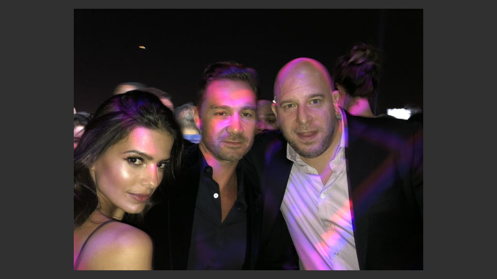 Jason Strauss and Noah Tepperberg of the Tao restaurant and nightclub empire in Las Vegas and New York, with Brazilian model Marcela Braga at Apex Social Club for the J Cole concert. Photo: Norm Clarke