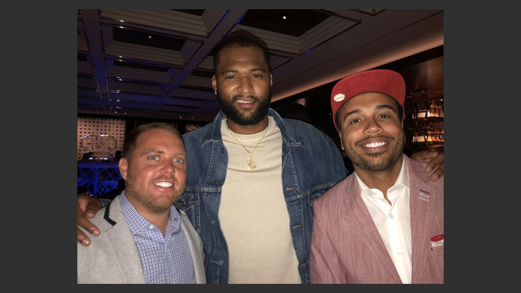Andy Rogers, manager of Demarcus Cousins (center), and J.J. Jones, assistant to the Maloof family, at Scotch 80s steakhouse, formerly N9ne steakhouse at the Palms on Thursday. Photo: Norm Clarke
