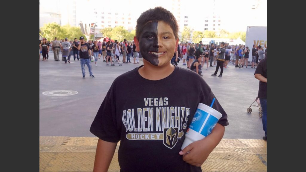 12-YEAR-OLD ANTHONY OF LAS VEGAS SHOWED HIS COLORS AT TOSHIBA PLAZA ON MONDAY. Photo: Norm Clarke