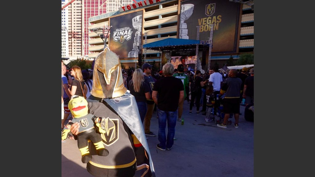 ADRIANA RUBIO , WHO WORKS IN THE PANTRY AT TREASURE ISLAND HOTEL, SHOWED UP IN A GOLDEN KNIGHT COSTUME. Photo: Norm Clarke