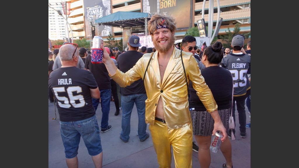 BEN BURTON, 33, 0F LAS VEGAS STOOD OUT IN THE CROWD IN HIS SKIN-TIGHT GOLD SUIT. Photo: Norm Clarke