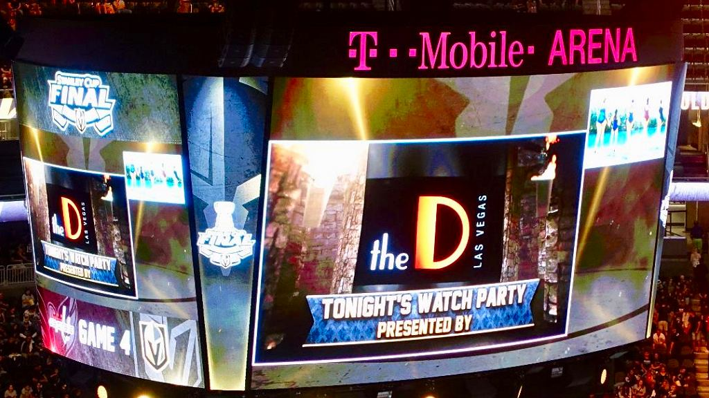 THIS RAISED SOME EYEBROWS: DID THE D CHIP IN TO CO-HOST THE WATCH PARTY AT T-MOBILE? Photo: Norm Clarke