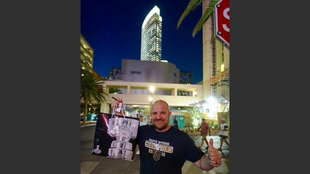 JOHN FIORE, WHO SELLS HIGH-END WATCHES (HUBLOT) AT THE FORUM SHOPS AT CAESARS, LEFT GAME 5 WITH SOME STANLEY CUP MERCHANDISE AND SOME GREAT MEMORIES. Photo: Norm Clarke