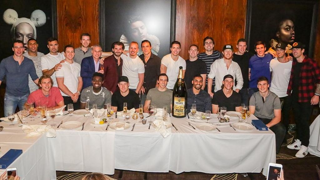 Fresh-shaven Vegas Golden Knights Dine at Scotch 80 Prime at Palms Casino Resort on Friday Before Going to Blink182. Photo: Edison Graff