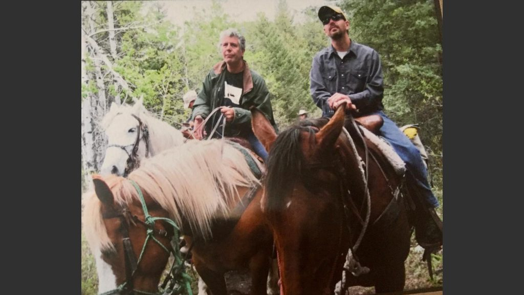 Anthony Bourdain horseback riding in the Livington, Montana area in 2009.