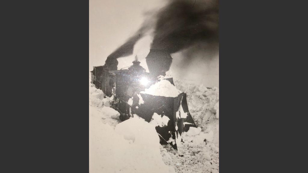 Locomotive snowplowing through giant drift in Dakota Territory in 1884. My British grandparents arrived in Miles City, Montana, then Dakota Territory, in 1882. I cover their lives in a chapter of my upcoming book. Photo: Montana Historical Society