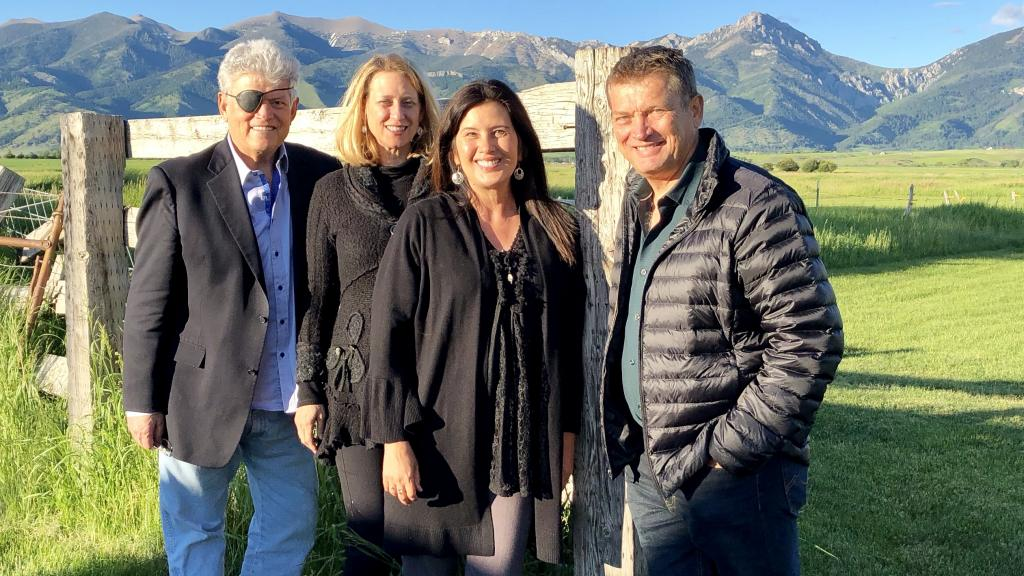 Back home in Montana with my brother Jeff, his wife Jenny and my wife, Cara for the wedding of Dale & Lindsay Hubbert.