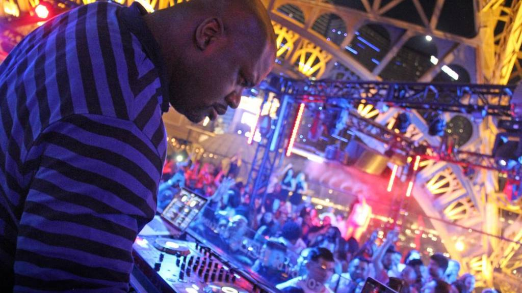Shaquille O'Neal did an hour-long performance as a popup DJ at Chateau Nightclub & Rooftop at Paris Las Vegas on Saturday night. Photo:  Courtesy of Chateau Nightclub & Rooftop