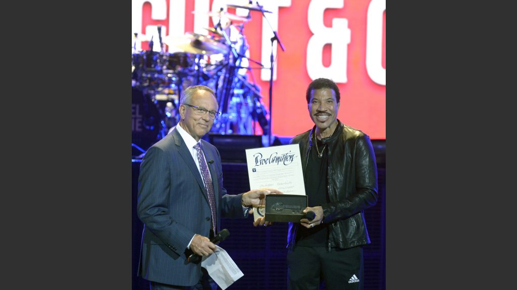 """Lionel Richie Presented with the Key to Las Vegas' Iconic Strip; August 15 Declared as """"Lionel Richie Day"""" by Clark County Commissioner Jim Gibson  Photo: Bryan Steffy"""