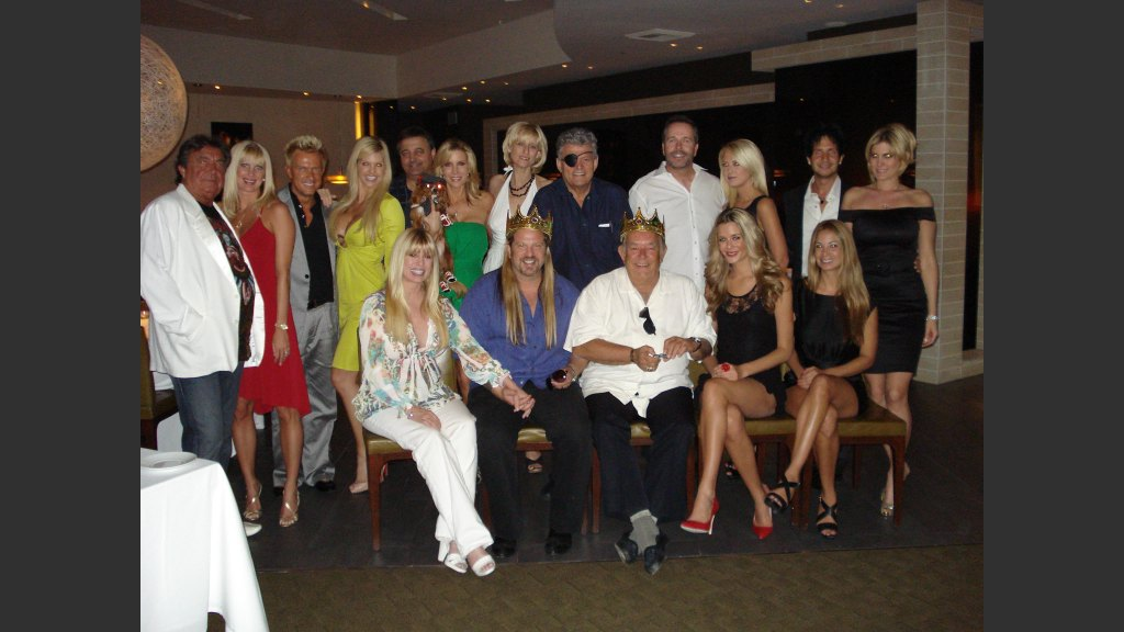 """Crazy Girls"""" producer Norbert Aleman and wife Jennifer; Chris Phillips and Marlee Taylor, of Zoe Bowie; Dr. Loren Jacobs and his wife, TV personality Alicia Jacobs; Cara Roberts and Norm Clarke, Ken Henderson of BEST Agency and his date; Alfredo Andreani and his wife Rain.Front: Karen and Michael Boychuck, Robin Leach and former Miss USA contestant Brittney Mason and Las Vegas publicist Stephanie Wilson."""