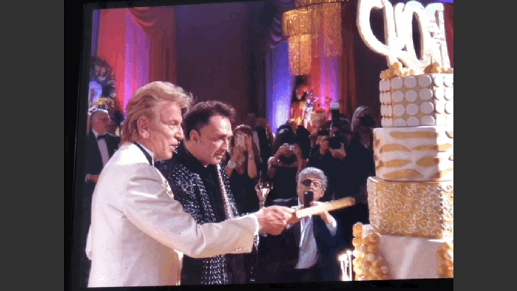 Illusionists Siegfried and Roy cutting the cake for Roy's  65th birthday at The Mirage on Oct. 3, 2009. (All Yaghi photos courtesy of Yaghi)
