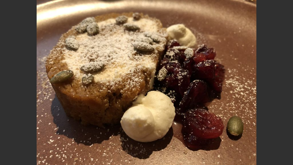 Copy of Thanksgiving Day dessert at Rosewood Inn at the Anasazi: Pumpkin Roll filled with cream cheese