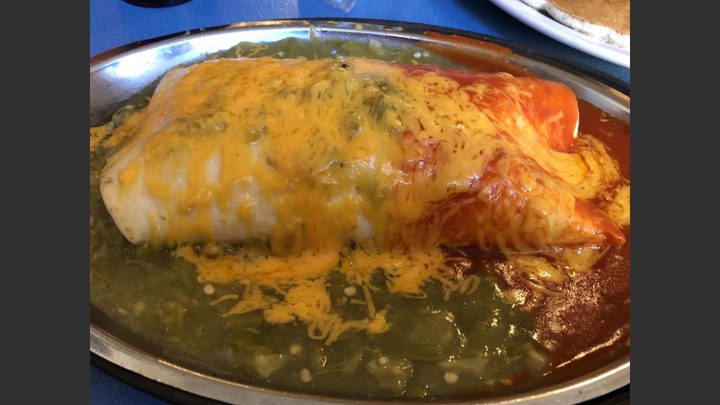 "Copy of The breakfast burrito at Tia Sophia's in San Francisco Street, ""Christmas style"" or red and green chile."