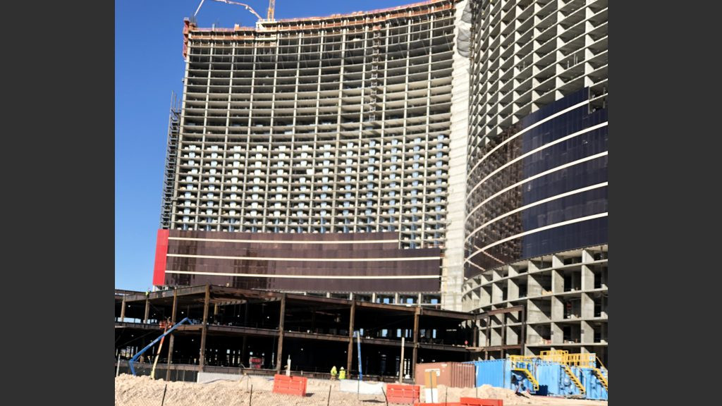 The desert tan color scheme that's going up on Resorts World bears a close resemblance to the exterior color scheme Wynn Las Vegas and Encore.
