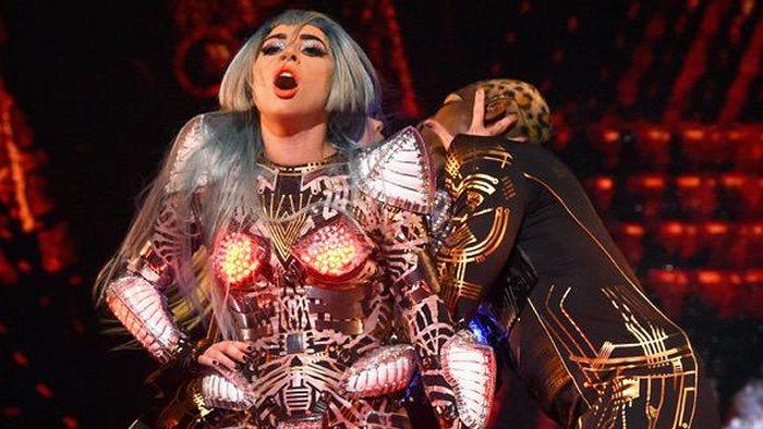 Lady Gaga in a futuristic costume.