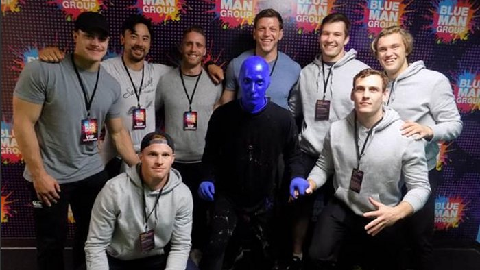 Canadian national rugby team takes in Blue Man Group at Luxor. Courtesy photo